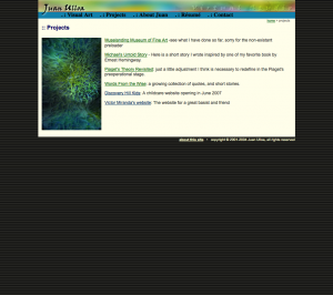 screenshot of projects page